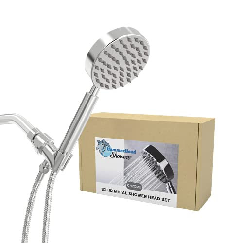 """All Metal Hand Held Shower Head with Hose and Holder, Polished Chrome 