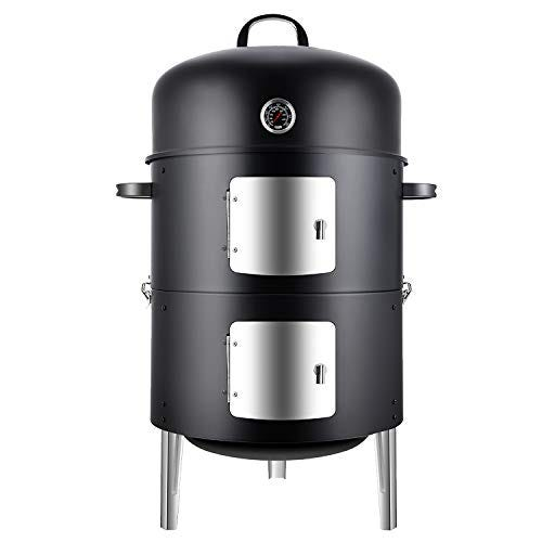 Realcook Vertical 17-inch Steel Charcoal Smoker, BBQ Grill