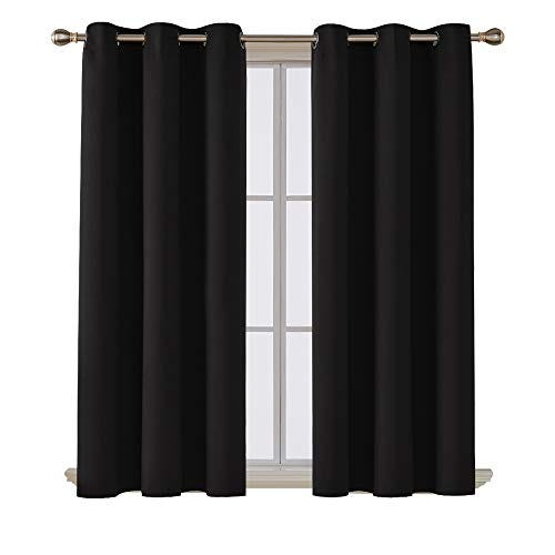 Deconovo Room Darkening Noise Reducing Grommet Black Blackout Curtains