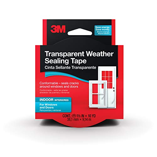 3M Interior Transparent Weather Sealing Tape for Windows and Doors, Moisture Resistant Tape