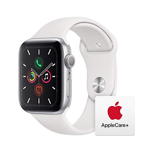 Apple Watch Series 5 (GPS, 44mm) - Silver Aluminum Case with White Sport Band with AppleCare+ Bundle