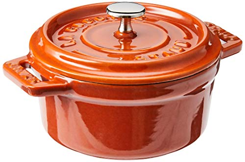 STAUB Cast Iron Mini Round Cocotte, 0.25-quart, Burnt Orange
