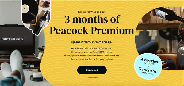 3 months of Peacock Premium and 4 bottles of wine