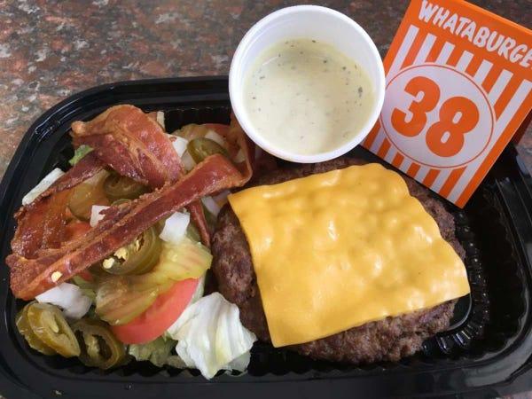 Bacon and Cheese Whataburger (No Bun)
