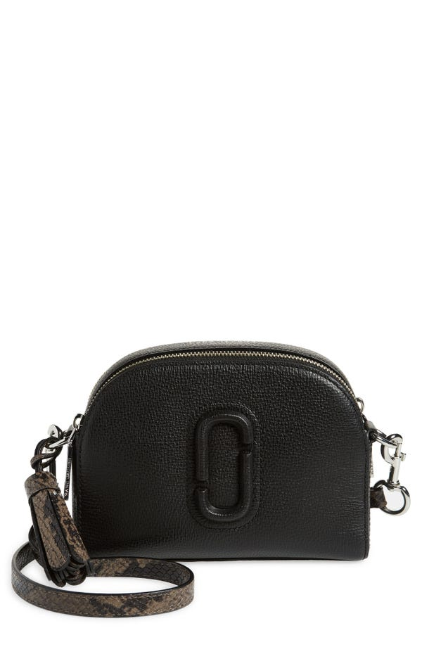 The Marc Jacobs Shutter Leather Shoulder Bag with Embossed Strap and Snakeskin