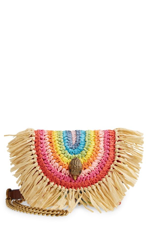 Kurt Geiger London Kensington Rainbow Raffia Mini Crossbody Bag