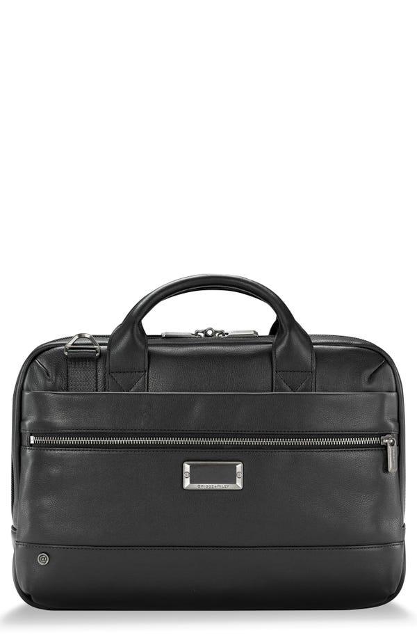 Briggs & Riley @work Slim Leather Laptop Briefcase