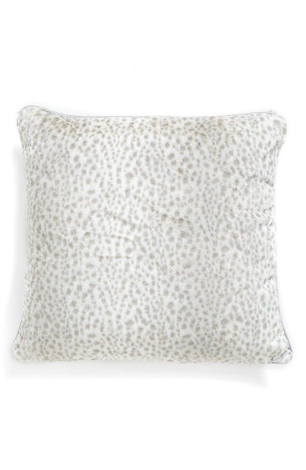 Giraffe at Home Snow Leopard Faux Fur Throw Pillow