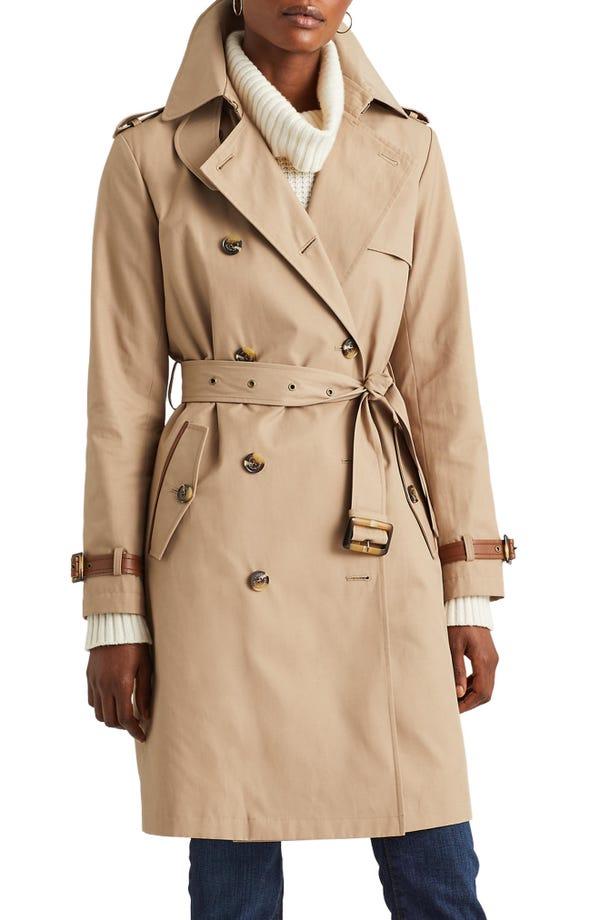 Lauren Ralph Lauren Double Breasted Cotton Blend Trench Coat
