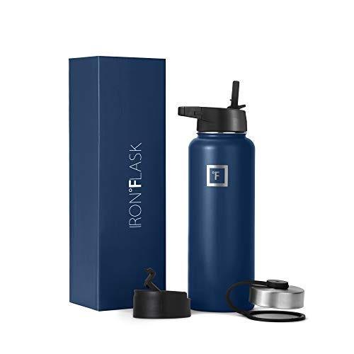 Iron Flask Sports Water Bottle - 40 Oz, 3 Lids (Straw Lid)