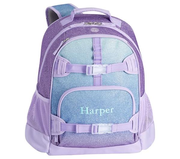 Mackenzie Lavender/Aqua Ombre Sparkle Glitter Backpacks