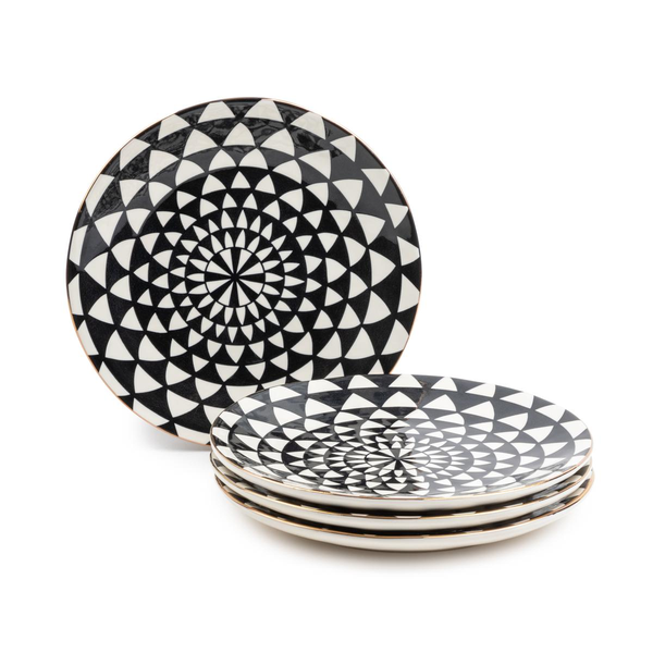 Dinnerware Black & White Medallion Stoneware Salad Round Plates, 4 Pack
