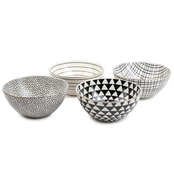 Servware Black & White Assorted Stoneware Round Bowls, 4 Pack