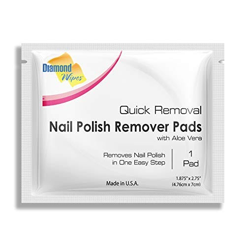 Diamond Wipes Acetone Nail Polish Remover Pads Pack of 50ct Individually Wrapped