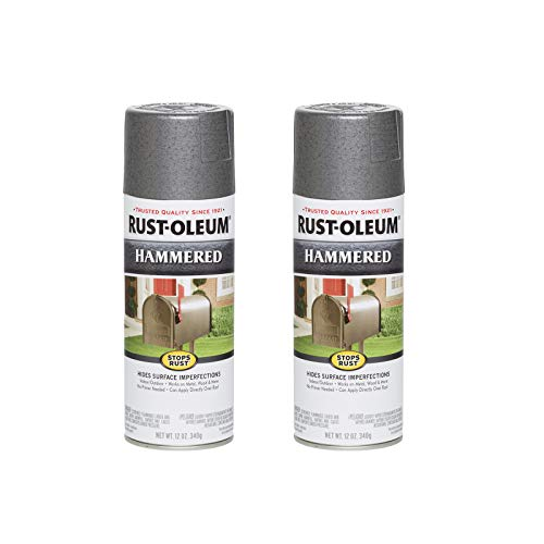 Rust-Oleum 7214830A2 7214830-2PK Stops Rust Hammered Spray Paint, 12 Oz, Gray, 2 Pack, 2 Count