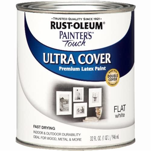 Rust-Oleum 1990502 Painter's Touch Latex Paint, Quart, Flat White