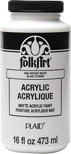 FolkArt Matte Acrylic Paint in Assorted Colors, 16 oz, Wicker White 16 Fl Oz