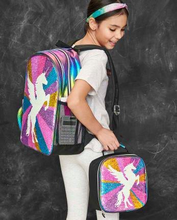 Girls Metallic Flip Sequin Unicorn Backpack