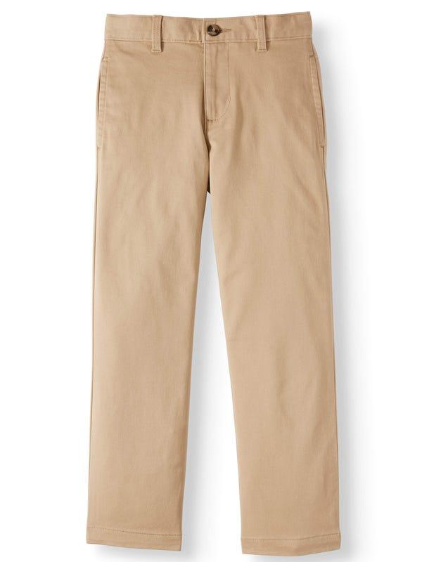 Wonder Nation Boys School Uniform Stretch Chino Pants, Sizes 4-18, Slim, & Husky