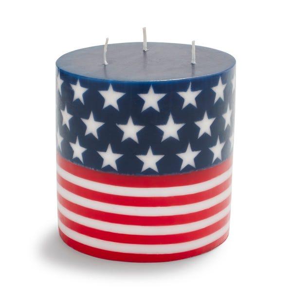 3-Wick Flag Pillar Candle