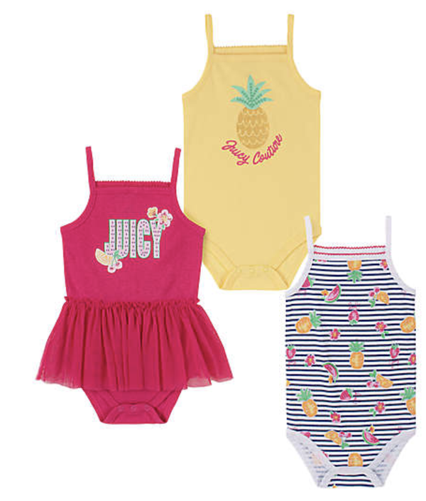 Juicy Couture size 6-9M 3-pack sleeveless bodysuits