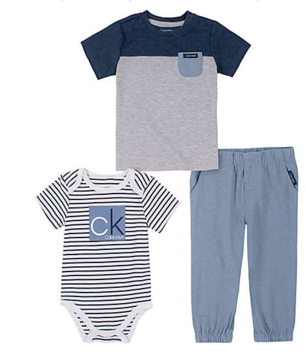 Calvin Klein size 0-3M 3-piece bodysuit, t-shirt, and pant set