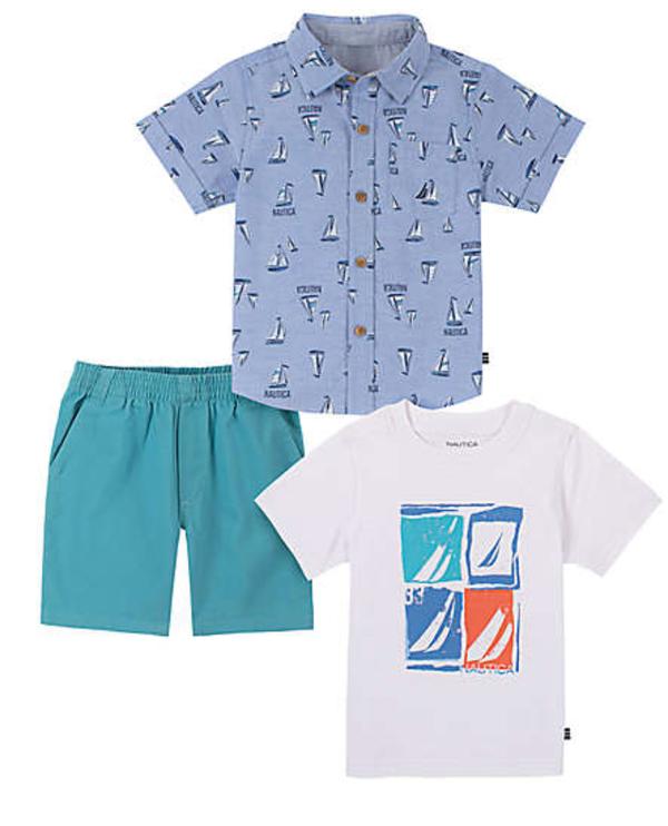 Nautica size 6-9M 3-piece button down shirt, t-shirt, and short set