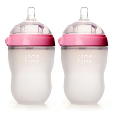 comotomo® 8-ounce baby bottles in pink (2-pack)