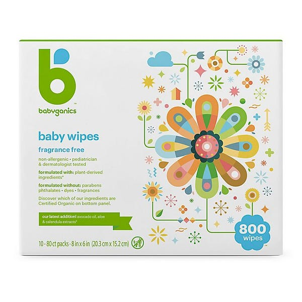 Babyganics fragrance-free 800  count face, hand, and baby wipes