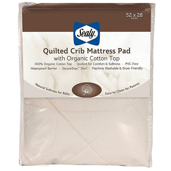 Sealy Quilted Crib Mattress Pad with allergy protection organic cotton top