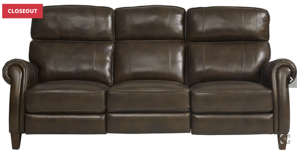 Adorelli Chocolate Leather Dual Power Reclining Sofa