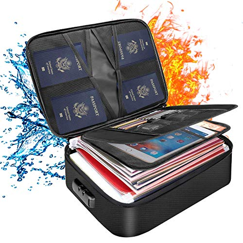 Document Bag with lock, fireproof 3-layer file storage case with water-resistant zipper