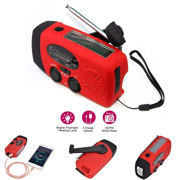 Solar Hand Crank Charging Radio, Emergency AM/FM/NOAA Weather Radio with Power Bank for Cell Phone Charger, Flashlight