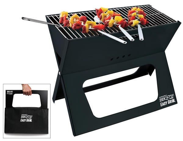 BBQ Croc Portable Easy Grill, Foldable Charcoal Barbecue