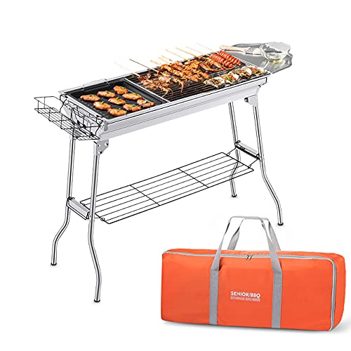 Portable Charcoal BBQ Grill, with storage bag & non-stick frying pan