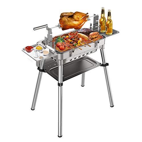 Portable Charcoal Barbecue Grill, stainless steel, foldable