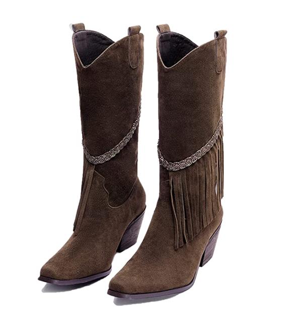 Bohemian Tassel Mid-Heel Boots