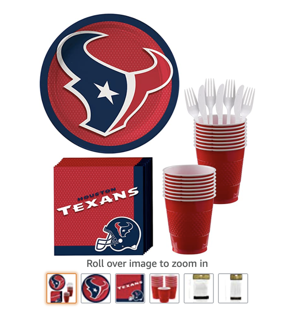 Texans Party Supplies for 18 Guests with paper plates, paper napkins, cups, utensils