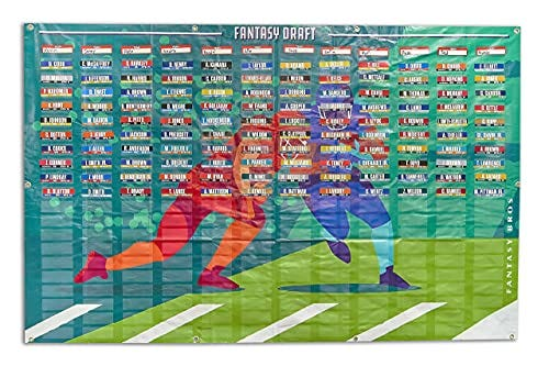 2021 Fantasy Football Draft Board with Player Labels Color Coded by Team.