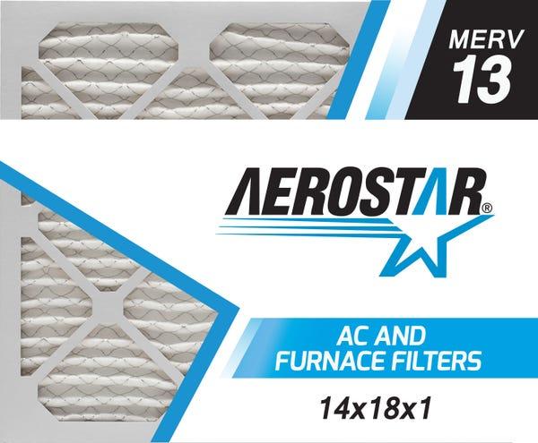 Aerostar 14x18x1 MERV 13, Air Filter, 14x18x1, Box of 4