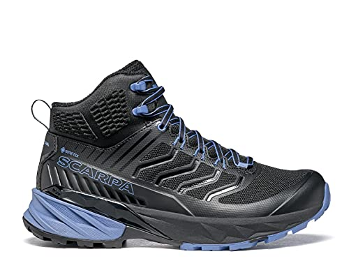 SCARPA Women's Rush Mid GTX Waterproof GORE-TEX Shoes for Hiking and Trail Running - Black/Provence - 8