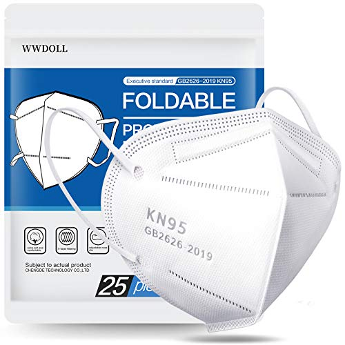 WWDOLL KN95 Face Mask 25 Pack, 5-Layers Mask Protection, Breathable KN95 Masks White