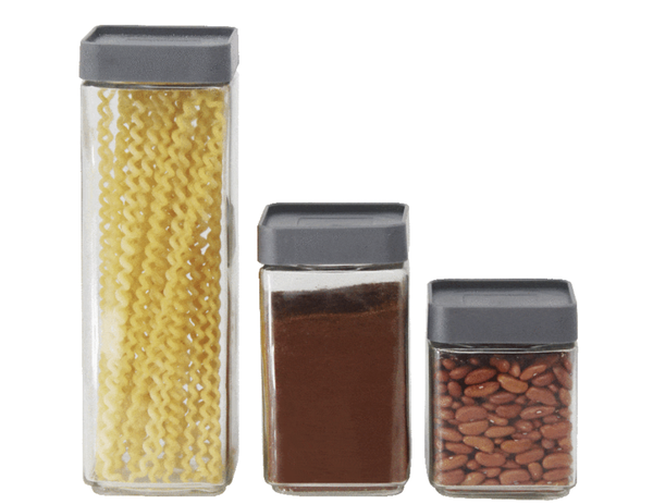 Set of 3 Glass Canisters with Airtight Lids