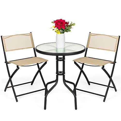 Best Choice Products 3-Piece Patio Bistro Dining Furniture Set