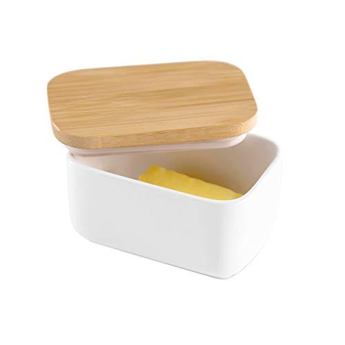 Hasense Porcelain Butter Dish with Bamboo Lid