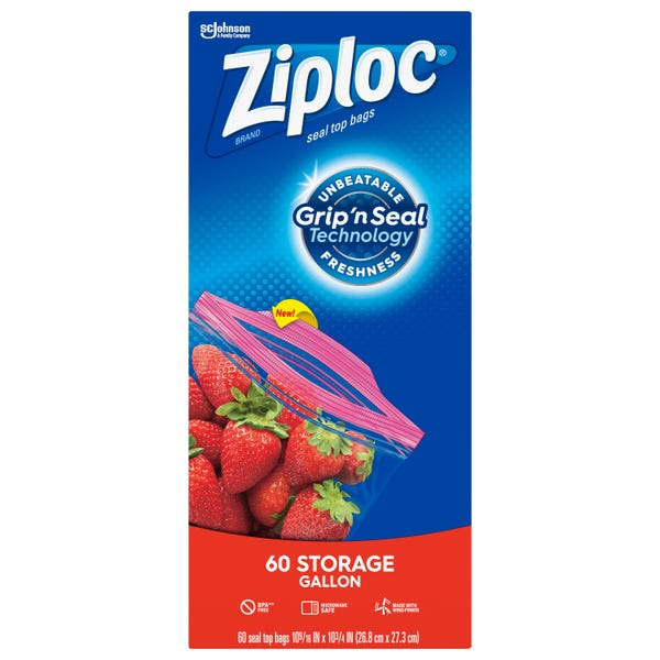 Ziploc Brand Storage Gallon Bags with Grip 'n Seal Technology, 60 Count