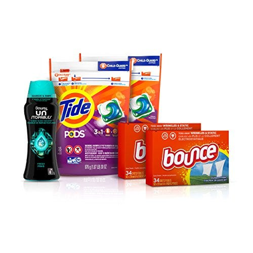 Tide Pods Laundry Detergent Pacs, Downy Unstopable Scent Beads, and Bounce Dryer Sheets, Better Together Bundle