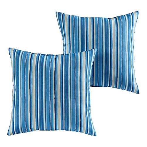 South Pine Porch Outdoor Sapphire Stripe 17-inch Square Accent Pillow, Set of 2