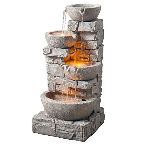 Peaktop 201601PT Water 4 Tiered Bowls Floor Stacked Stone Waterfall Fountain