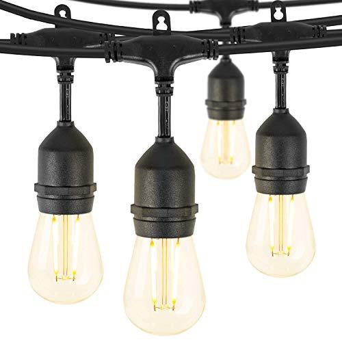 LED Outdoor String Lights 48 Feet, Waterproof Patio Lights with 15 Shatterproof Bulbs
